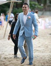 Mens Blue Flap Two Pockets Beach Wedding Attire Menswear