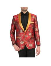 Red and Gold Floral Shawl Collar Wedding Tuxedo