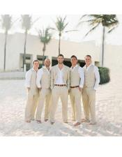 Mens Beige Two Button One Chest Pocket Beach Wedding Attire Suit