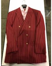 Burgundy and Gold Stripe Double breasted Blazer Sport Coat
