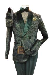 Green Sequin ~ Fancy Fashion Mens Double Breasted Suits Jacket Shawl Collar Tuxedo Blazer COMING MARCH 10th