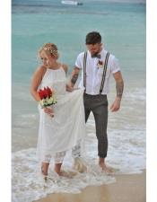 Mens Gray Beach Wedding Attire Suit with Bow Tie