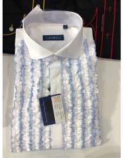 Mens Classic Ruffled Puffy Dress 100% Cotton casual Trendy tuxedo shirt