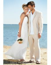 Mens Beige Two Buttons One Chest Pocket Beach Wedding Attire Suit