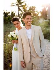 Mens Beige One Chest Pocket Beach Wedding Attire Suit