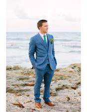 Mens Blue Two Buttons Beach Wedding Attire Suit