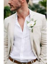 Beach Wedding Attire Suit Menswear Ivory $199