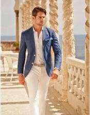 Mens Blue One Chest Pocket Beach Wedding Attire Suit
