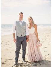 Mens Gray Five Buttons Beach Wedding Attire Suit