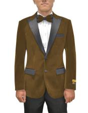Button Peak Lapel Brown