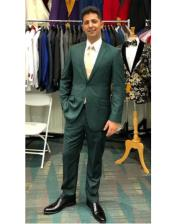 Mens Green Two Button  Flap Front Pockets Suit