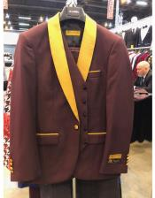 Mens Burgundy Two Button  Suit