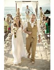 Beach Wedding Attire Suit Menswear Beige $199