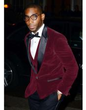 Narodni Two Toned Wine ~ Dark Burgundy Velvet Tuxedo Dinner Jacket Blazer Prom Outfit ~ Wedding Blazer