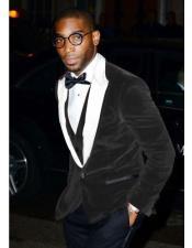 Alberto Narodni Two Toned Black And White Velvet Tuxedo Dinner Jacket Blazer Prom Outfit ~ Wedding Blazer