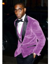 Alberto Narodni Two Toned Lavender ~ Dark Purple Velvet Tuxedo Dinner Jacket Blazer Prom Outfit ~ Wedding