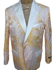 Mens White ~ Gold Floral Pattern Double Breasted Peak Lapel Blazer