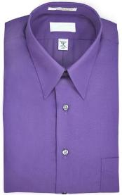 Point collar Wrinkle resistant Poplin fabric, 65% polyester, 15% cotton Purple Dress Shirt