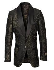 Mens Single Breasted Gold Trim Fancy Pattern Black and Gold Blazer