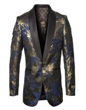 Mens Single Breasted Fancy Pattern Blue and Gold Blazer