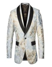 Mens Single Breasted Shawl Lapel Fancy Pattern Blue and Gold Blazer