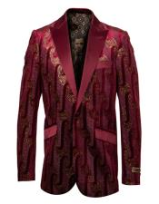 Mens Single Breasted Peak Lapel Fancy Pattern Burgundy and Gold Blazer