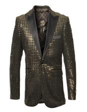 Mens Single Breasted Peak Lapel Fancy Pattern Gold Blazer