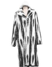Mens Long Length Faux Fur Coat Full Length Overcoat ~ Long Mens