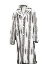 Long Length Faux Fur Coat Full Length Overcoat ~ Long Mens