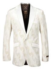 Mens Single Breasted Peak Lapel Fancy Pattern Off White and Gold
