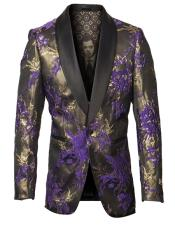 Mens Single Breasted Peak Lapel Fancy Pattern Purple and Gold Blazer