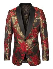 Mens Single Breasted Shawl Lapel Fancy Pattern Red and Gold Blazer