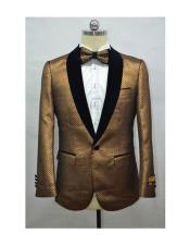 Burnt Orange Mens Fashion Blazer + Free Matching Bowtie