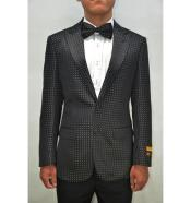 and White or Navy Mens Blazer Sport Jacket Fancy Fashion Pin Dots With polka dot pattern