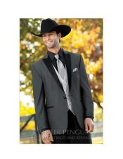 single breasted grey cowboy style western tuxedo suit