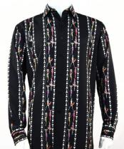 Mens Fashion Full Cut Long Sleeve Black Shirt