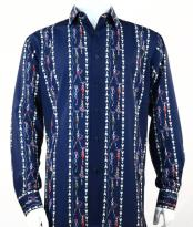 Mens Fashion Full Cut Long Sleeve Blue Shirt