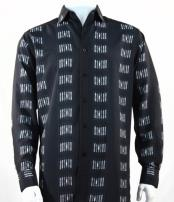 Mens Fashion Full Cut Long Sleeve Squares Stripe Black Shirt