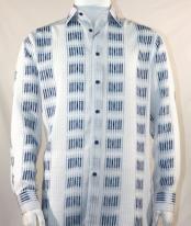 Mens Fashion Full Cut Long Sleeve Bronze Squares Stripe White Shirt