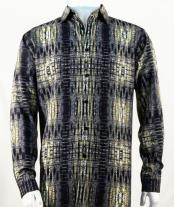 Mens Full Cut Long Sleeve  Black Fashion Shirt