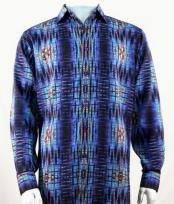 Full Cut Long Sleeve  Royal Blue Fashion Shirt
