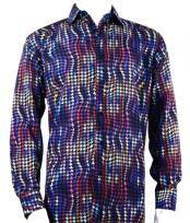 Mens Full Cut Long Sleeve Purple Houndstooth Fashion Shirt