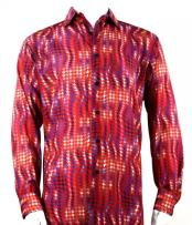 Mens Full Cut Long Sleeve Red Houndstooth Fashion Shirt