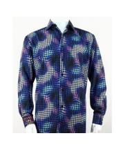 Mens Full Cut Long Sleeve Royal Houndstooth Fashion Shirt