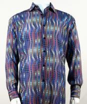 Mens Full Cut Long Sleeve Fuschia Houndstooth Fashion Shirt