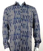 Mens Full Cut Long Sleeve Blue Houndstooth Fashion Shirt