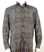 Mens Full Cut Long Sleeve Copper Houndstooth Fashion Shirt