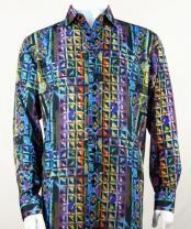 Full Cut Long Sleeve Floral Pattern  Blue Fashion Shirt