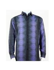 Full Cut Long Sleeve Pattern Stripe Purple Fashion Shirt