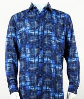 Full Cut Long Sleeve Pattern Blue Fashion Shirt